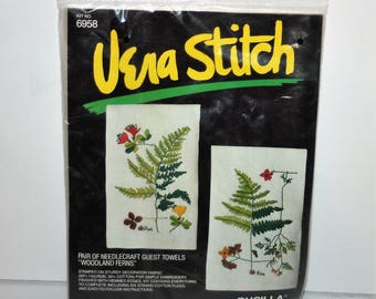 Vintage Bucilla Vera Stitch Guest Towels Woodland Ferns kit 6958 Sealed Made in the USA