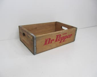 Wood Crate, Soda Crate, Drink DR Pepper Wood Storage Crate, Wood Box, Photo Prop