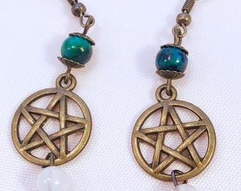 Clearance Bronze pentacle earrings