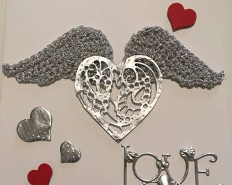 Vakentine card with crochet wings