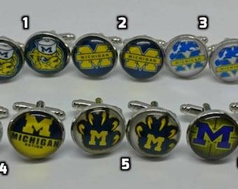 Custom Collectible handmade MIchigan football cufflinks, weddings, gifts for him
