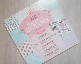 "Block 30 sheets 15 x 15 cm ""Live your dreams"" scrapbooking"