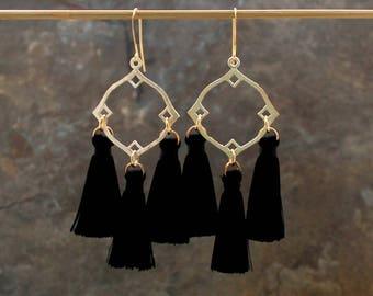 Tassel Earrings, Moroccan Earrings, Black Earrings, Tassle Earrings, Moroccan Style Earrings, Fringe Earrings, Geometric Earrings, White