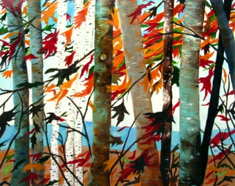 Aspen Tree Painting Birch Tree abstract Painting on Art board, MADE TO ORDER Autumn Birch Forest, Forest Painting Wall Art by Susie Tiborcz