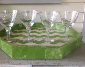 Vintage Cut Crystal Martini/Champagne/Wine/Water Glasses - set of 4