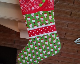 Christmas Stocking with Little Santa Print