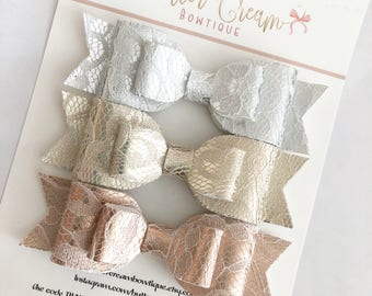 Metallic Lace Layered Bows, lace, bows for girls, baby bows