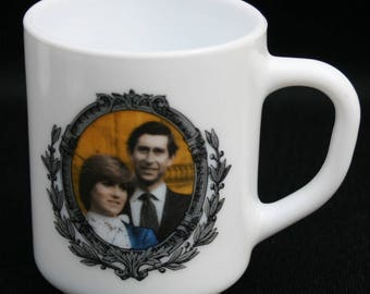 Souvenir Cup Commemorate Marriage Prince of Wales & Lady Diana Spencer Arcopal  Commemorative Collectible France Vintage Coffee Glass Mug