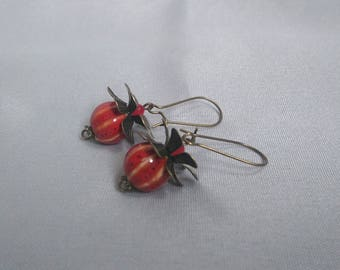 Stud Earrings, ceramic beads - red Bronze-