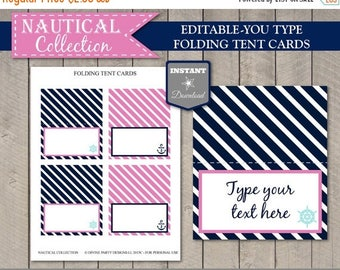 SALE INSTANT DOWNLOAD Nautical Girl Folding Tent Cards/ Place Cards / Editable You Type / Printable / Nautical Girl Collection / Item #623