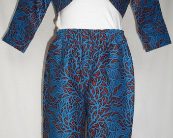 African Print  Trouser suit with flower hair clip