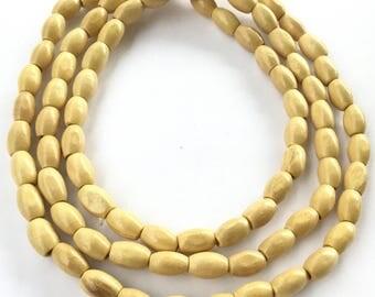 Natural Rosewood Oval Beads Natural Light teak Plantation color # WD223