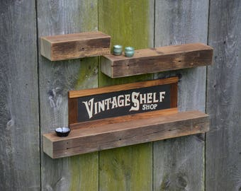 Set of Three Weathered Grey Oak Ledge Shelves