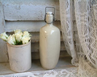 French vintage stoneware bottle with porcelain stopper and handle. Triangular ironstone bottle. French country kitchen. Rustic farm decor