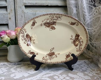 Antique french ironstone brown transferware oval serving platter. Art Nouveau. Brown transferware. French transferware