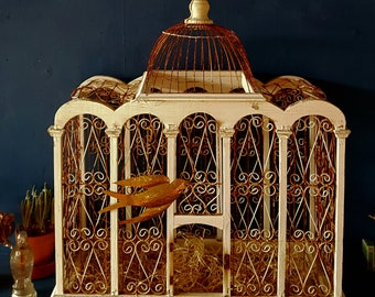 Vintage Birdcage...Victorian style...Shabby painted...Iron wire ware...Easter decor...Rust and Dust...Greenhouse...Home decoration...Birds