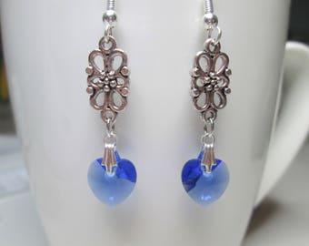 Edwardian style sapphire September birthstone swarovski heart earrings, valentine earrings, crystal earrings heart jewelry blue earrings