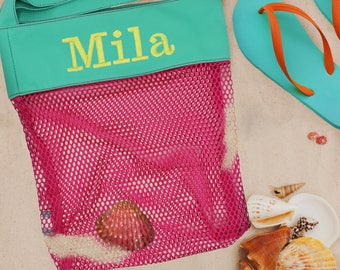 Seashell Collection Bag, Beach Gifts, Personalized Vacation Gifts, Sea shell Mesh Beach Bag, Beach Vacation, Beach Gear, Beach Lovers Gift