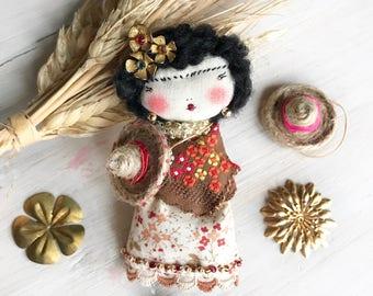 Frida Kahlo Haute couture doll brooch. Handmade Doll Brooch.