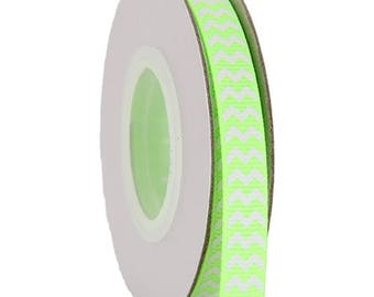 "Grosgrain Chevron Ribbon 3/8"" - 10 Yards - Neon Green"