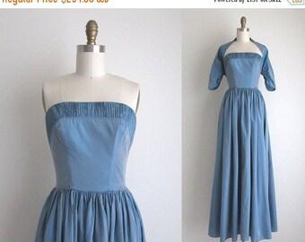 "SALE 50% OFF 1940s Formal Dress / Vintage 1940s Dress / Blue Taffeta Party Dress 25"" Waist"