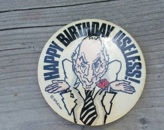 Vintage 1980s Pierre Trudeau Pin Birthday Pinback