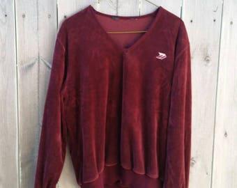 Vintage 80s Velour Sweater Sweatshirt Burgandy
