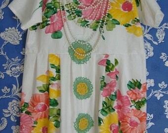 Beautiful Vintage Cotton Floral Summer  Dress Empire Waist Pinks Yellows Greens Vintage Crochet Flowers