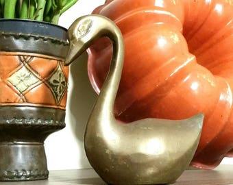 Vintage Brass Swan Figurine, Metal Bird Sculpture