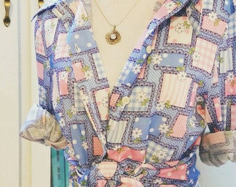 Vintage 70's Polyester Shirt, Wide Collar Button Down, Long Sleeved Blue Women's Blouse