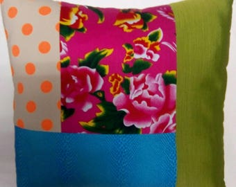 Trimmed fabric patchwork square cushion
