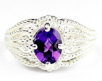 On Sale, 30% Off, Amethyst, 925 Sterling Silver Beaded Ladies Ring, SR365