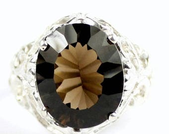On Sale, 30% Off, Smoky Quartz, 925 Sterling Silver Ring, SR114