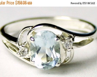 On Sale, 30% Off, Aquamarine, 925 Sterling Silver Ring, SR176
