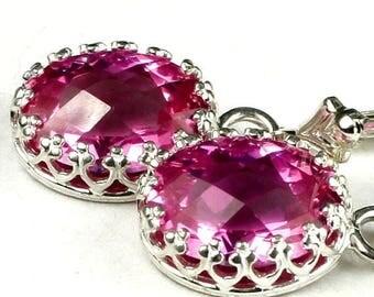 On Sale, 30% Off, Pure Pink Topaz, 925 Sterling Silver Crown Bezel Leverback Earrings, SE109