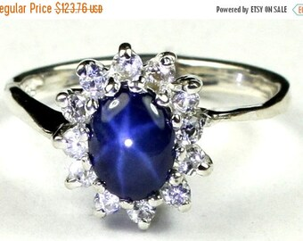 On Sale, 30% Off, Blue Star Sapphire, 925 Sterling Silver Ring, SR235
