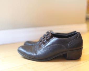 vintage brown  leather oxfords  womens 9