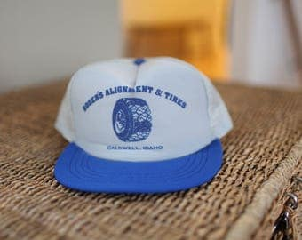 vintage rogers tires caldwell idaho gray & blue foam dome trucker hat