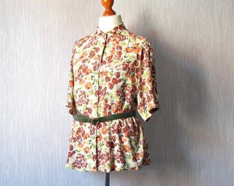 Vintage Floral Shirt Short sleeves perfect for a summer meeting with a friend Oversized  Size Large XL