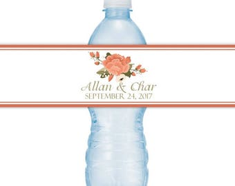 Wedding Water Bottle Labels - CUSTOM Printable Autumn Wedding Water Bottle Labels, YOU print, you cut, DIY water bottle labels