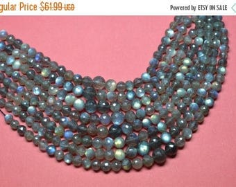 40%DIS AAA 9 Inch Strand 7-9mm Natural Blue Flash LABRADORITE Gemstone Faceted Round Beads Strand