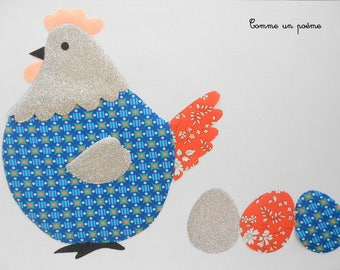 Applied fusible chick Easter Petit pan blue Ultramarine