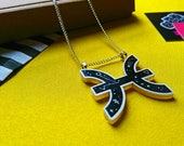 Pisces Necklace with Constellation, Water Element and Jupiter Symbols. The Fish Zodiac. Star Sign Necklace. Occult. Laser Cut Jewellery