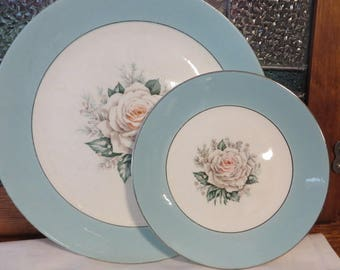 Baroness Plates 3 Dinner and 1 Salad Plate  //  Mid Century Dishes Turquoise and Silver w/ Rose  //  Alliance Ohio Century Service Corp.