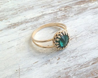 SALE Stacking ring, Gold filled ring, emerald ring, green jewelry, stackable ring, gold and green,gift for her- B3