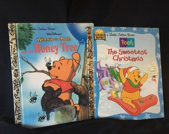 Pair of Vintage Winnie The Pooh Golden Books, Winnie the Pooh and The Honey Tree and Sweetest Christmas, Vintage Winnie the Pooh Books