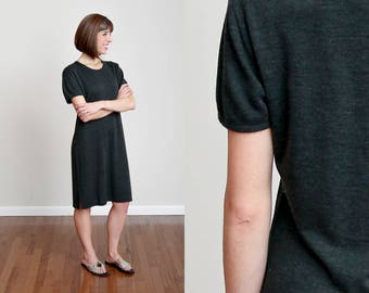 80s Charcoal Wool Blend Short Sleeve Shift Dress - Minimal - Modern - Basic • M