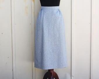 Ice Blue Pinstripe Skirt - Light Grey Pencil Skirt - Vintage Wool Skirt - XS Extra Small 23 Inch Waist Skirt - Rockabilly Skirt - Pin Up Mod