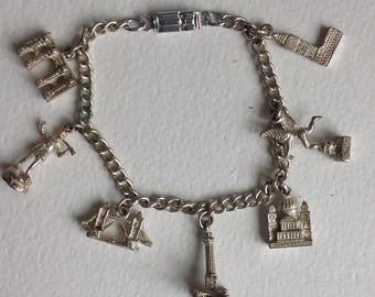 London Charm Bracelet - Souvenir Bracelet - Travel - Silvertone - Kitsch - Gifts for Her