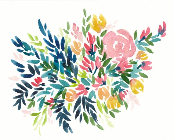 Original 8x10 Bouquet Watercolor Painting
